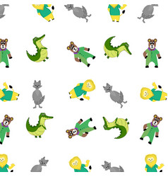 zoo pattern with cartoon animal vector image