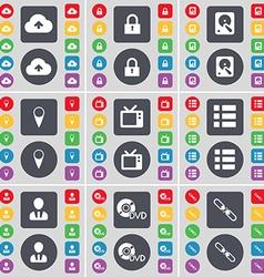 Cloud Lock Hard drive Checkpoint Retro TV List vector image vector image
