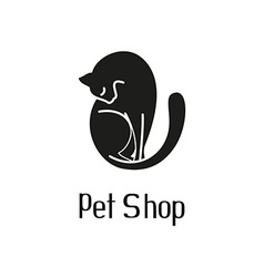 Cute pet shop logo with cat vector image vector image