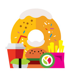 fast food flat style colorful cartoon vector image