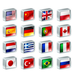 Flag icons buttons vector