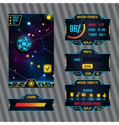 Futuristic space game interface with screen vector image vector image