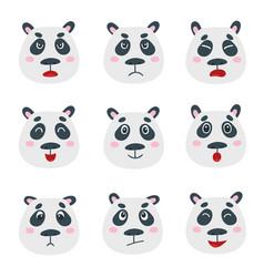 set with sweet panda bear emotion faces vector image
