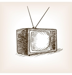 TV set sketch style vector image