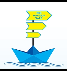 big clearance sale banner design with boat concept vector image