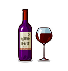 bottle of wine and glass winery alcoholic drink vector image