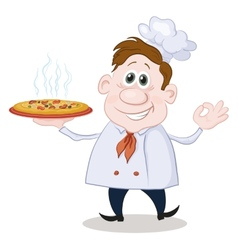 Cartoon cook chef with a hot pizza vector image vector image