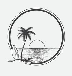 Palm beach on summer sea vector