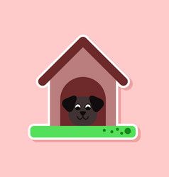 paper sticker on stylish background dog in booth vector image vector image