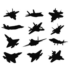 12 military aircrafts set vector image