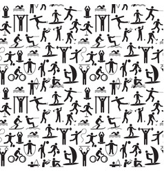 Sport icon playing people black background pattern vector