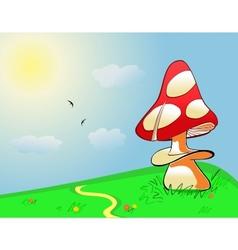 Summer landscape Mushroom on green field vector image vector image