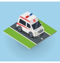 Ambulance Car on the Road Top View vector image vector image