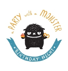 Funny Cute Little Black Monster Birthday Party vector image