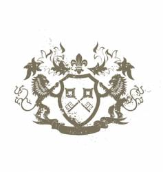 grunge heraldic shield vector image vector image