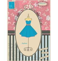 Old card with dress vector image