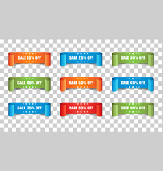sale ribbon icon discount sticker label set on vector image