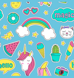 Seamless pattern with cute stickers for girl vector