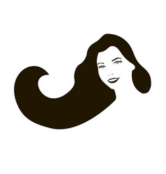 smiling woman face with long black hair vector image