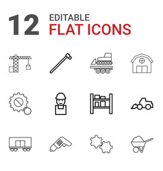 12 industrial icons vector