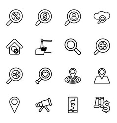 16 search icons vector image