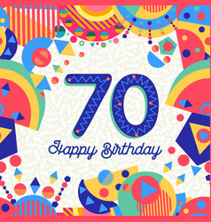70 seventy year birthday party greeting card vector