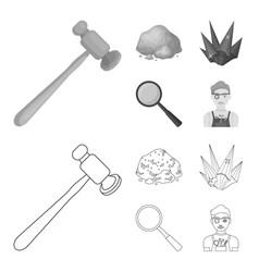 A jeweler hammer a magnifier a copper ore a vector