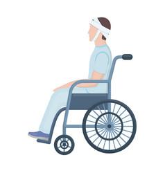 A man with a trauma in a wheelchair medicine vector