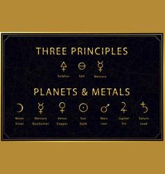 Alchemical golden symbols set on dark background vector