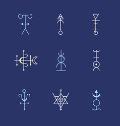 alchemy geometry symbol thin line set vector image
