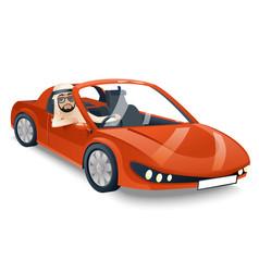 Arab driver riding road retro cartoon sport car vector