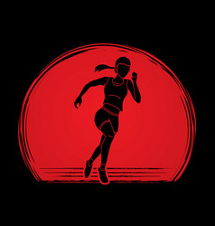 Athlete runner a woman runner running designed on vector