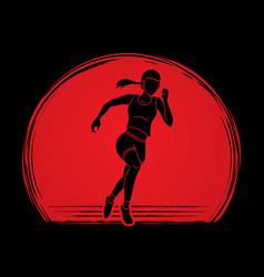 Athlete runner a woman runner running designed vector