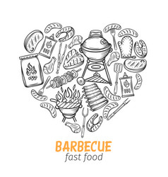 Barbecue hand drawn banner vector