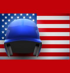 Baseball helmet and american flag vector