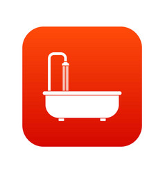 bathroom icon digital red vector image