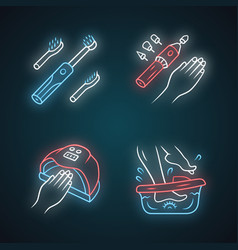 Beauty devices neon light icons set electric vector
