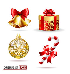 Bells gift box candycane and christmas ball vector