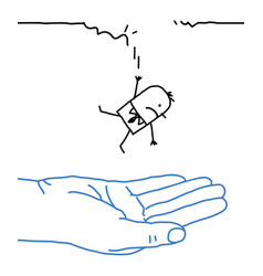 Big hand with cartoon character - falling vector