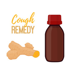 Bottle with cough remedy with curcuma vector