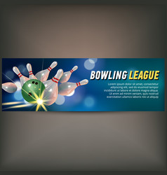 bowling horizontal banner with bowling champ club vector image