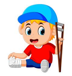 Boy with broken leg vector