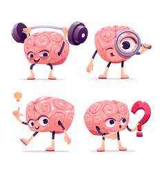 brain characters cartoon mascot with funny face vector image