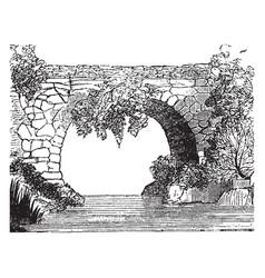 Bridge ancient bridge in laconia vintage engraving vector