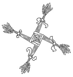 Brigids cross made straw wiccan pagan sketched vector