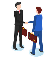 businessmen shaking hands flat vector image