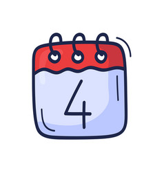 calendar icon with number july 4 is vector image