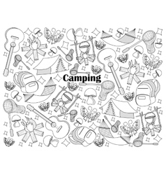Camping colorless set vector image