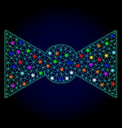 Carcass mesh bow tie with glare spots for vector