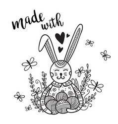 card knitting theme with cute bunny and lettering vector image